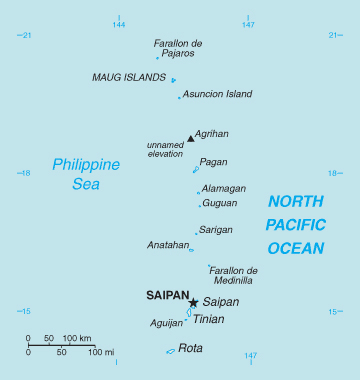 Map of Northern Mariana Islands. Northern Mariana Islands map.