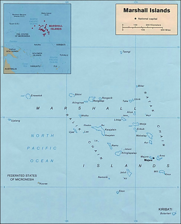 Detailed political map of Marshall Islands. Marshall Islands detailed political map.