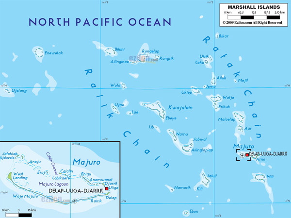 Large detailed physical map of Marshall Islands with roads, cities and airports.