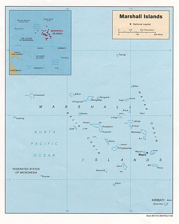 Large detailed political map of Marshall Islands.