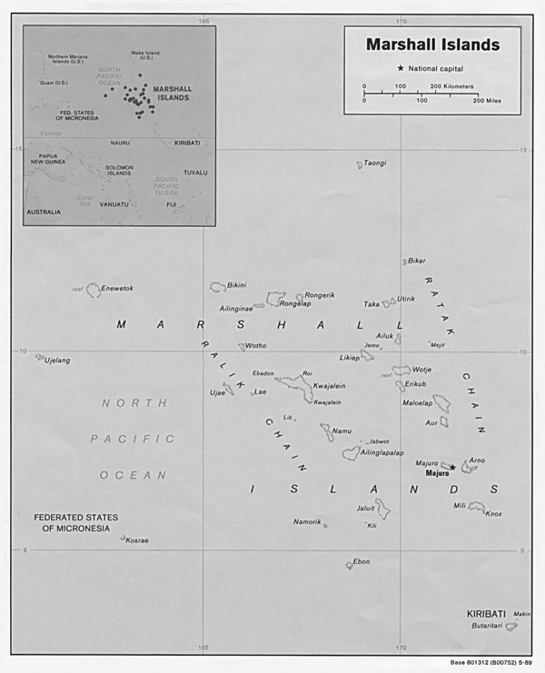 Large detailed political map of Marshall Islands with capital.