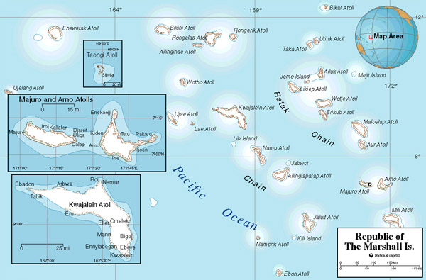 Large political map of Marshall Islands. Marshall Islands large political map.