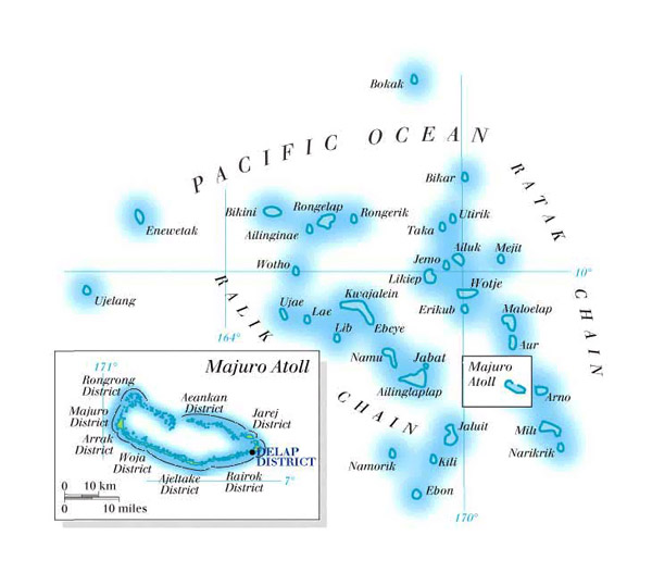 Physical map of Marshall Islands. Marshall Islands physical map.