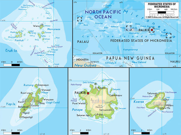 Detailed physical map of Micronesia with roads, cities and airports.