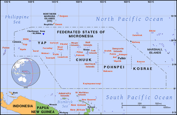 Full political map of Micronesia. Micronesia full political map.