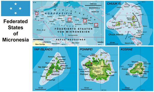 Large detailed physical map of Micronesia with roads, cities and airports.