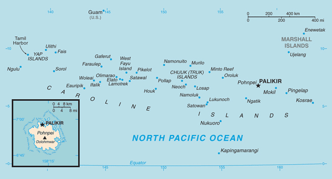 Map of Federated States of Micronesia. Federated States of Micronesia map.