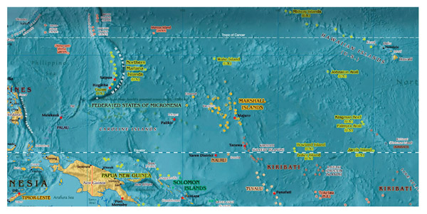 Micronesia detailed map with relief. Detailed map of Micronesia with relief.