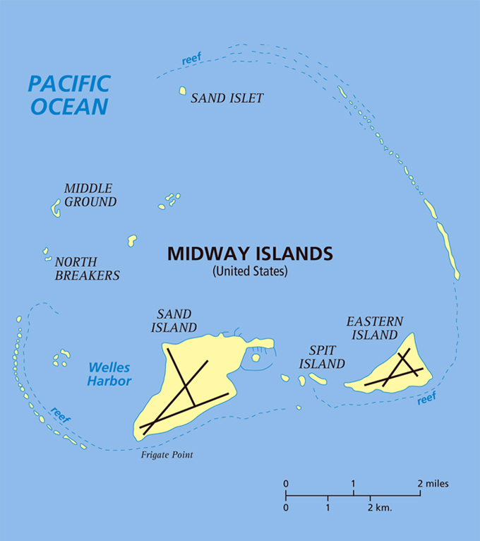 detailed map of midway islands midway islands detailed map