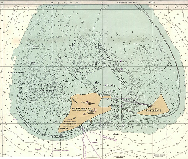 Large detailed topographical map of Midway Islands.