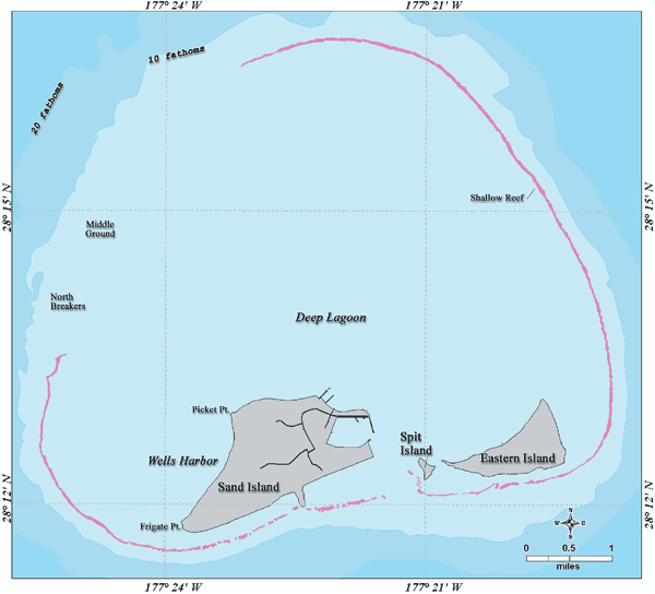 Midway Islands detailed map. Detailed map of Midway Islands.