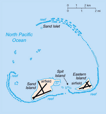 Midway Islands map. Map of Midway Islands.