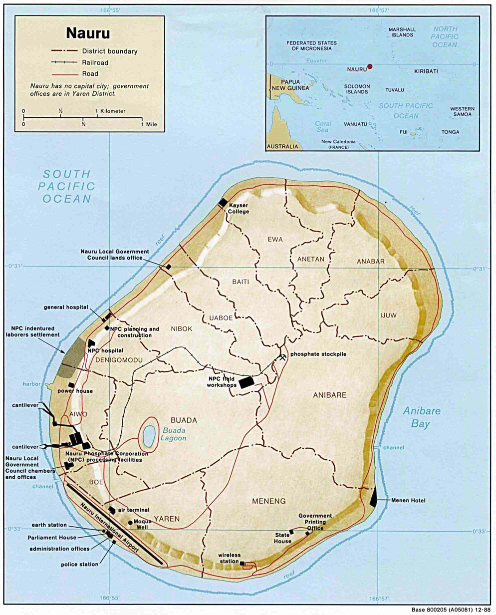 Large detailed map of nauru with buildings roads and airport