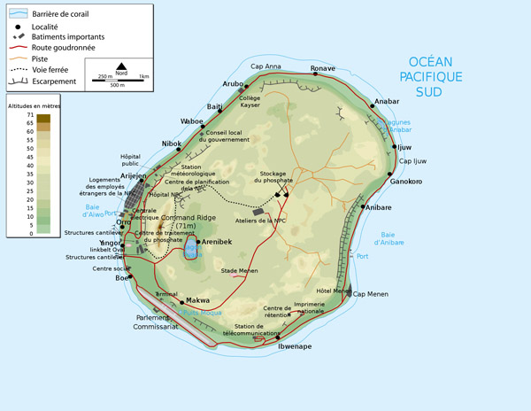 Large detailed physical map of Nauru with buildings roads and airport.