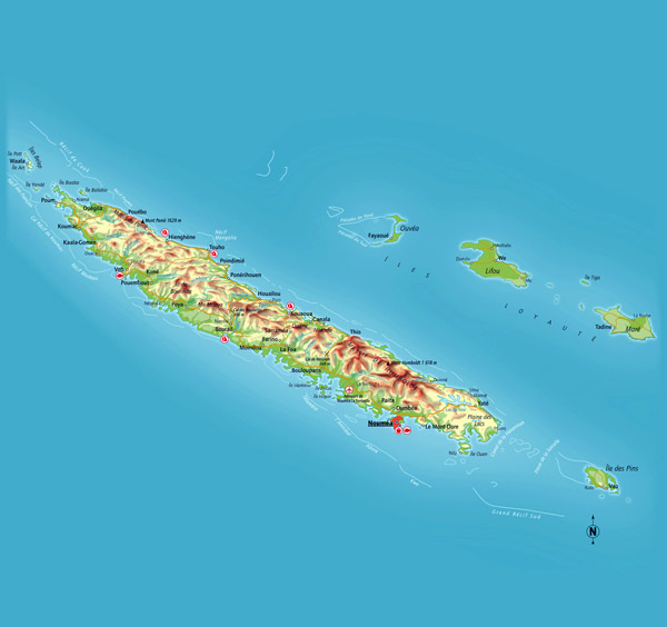 Detailed physical map of New Caledonia with cities, roads and airports.