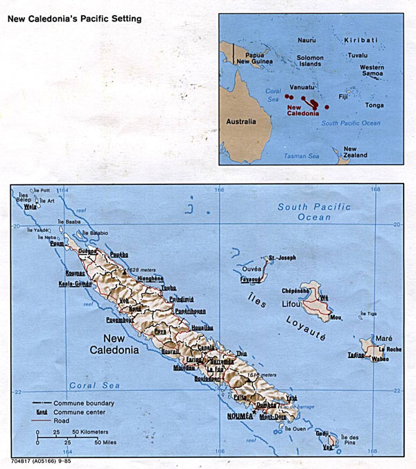 Detailed political and relief map of New Caledonia with roads and cities.