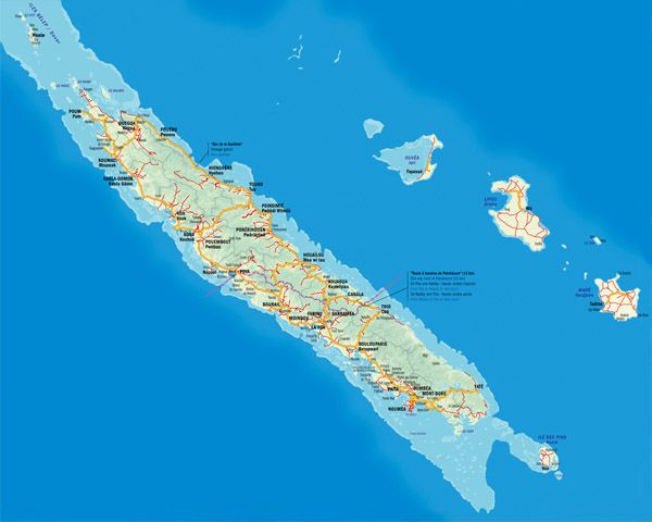 Large detailed road map of New Caledonia. New Caledonia large detailed road map.