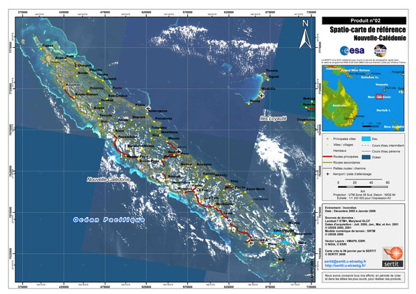 Large detailed satellite map of New Caledonia with all cities, roads and airports.