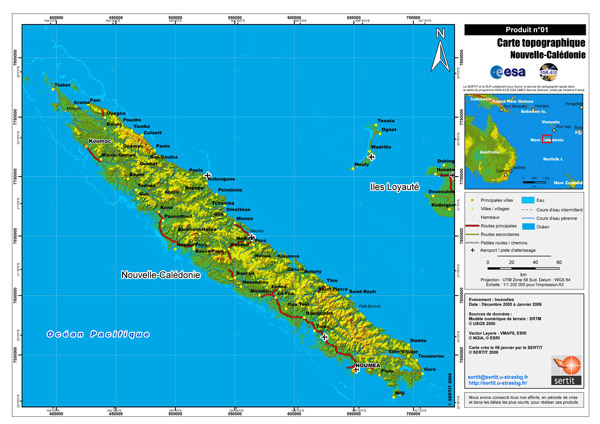 Large detailed topographical map of New Caledonia with all cities, roads and airports.