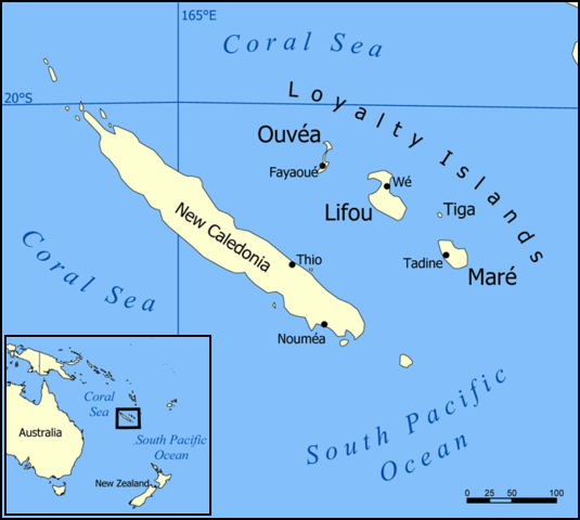 Map of New Caledonia. New Caledonia map.