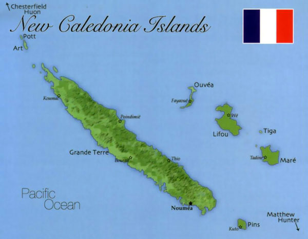 Relief map of New Caledonia. New Caledonia relief map.