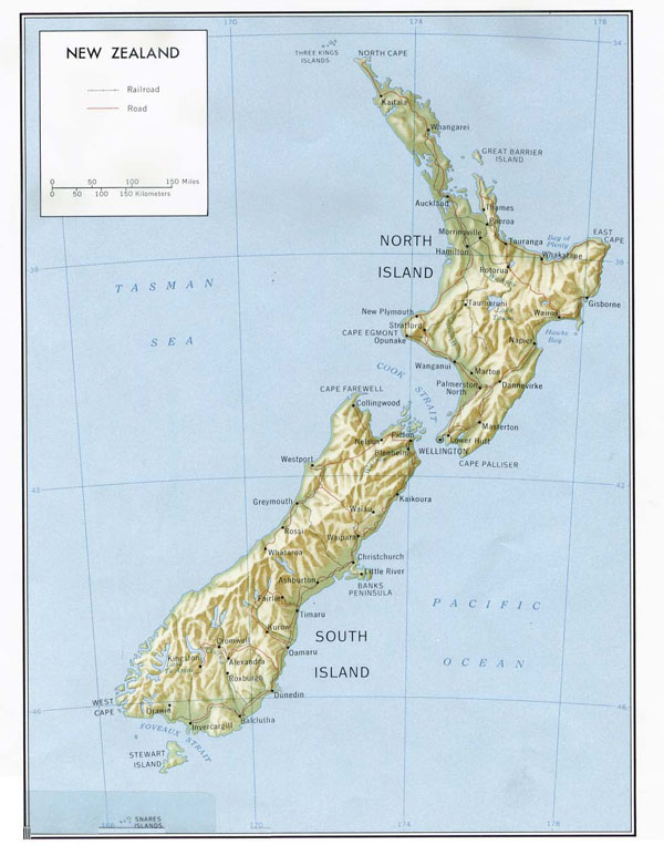 Detailed political and relief map of New Zealand with roads and cities.