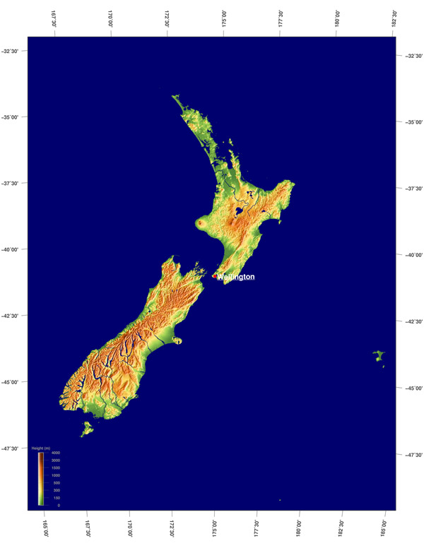 Detailed relief map of New Zealand. New Zealand detailed relief map.