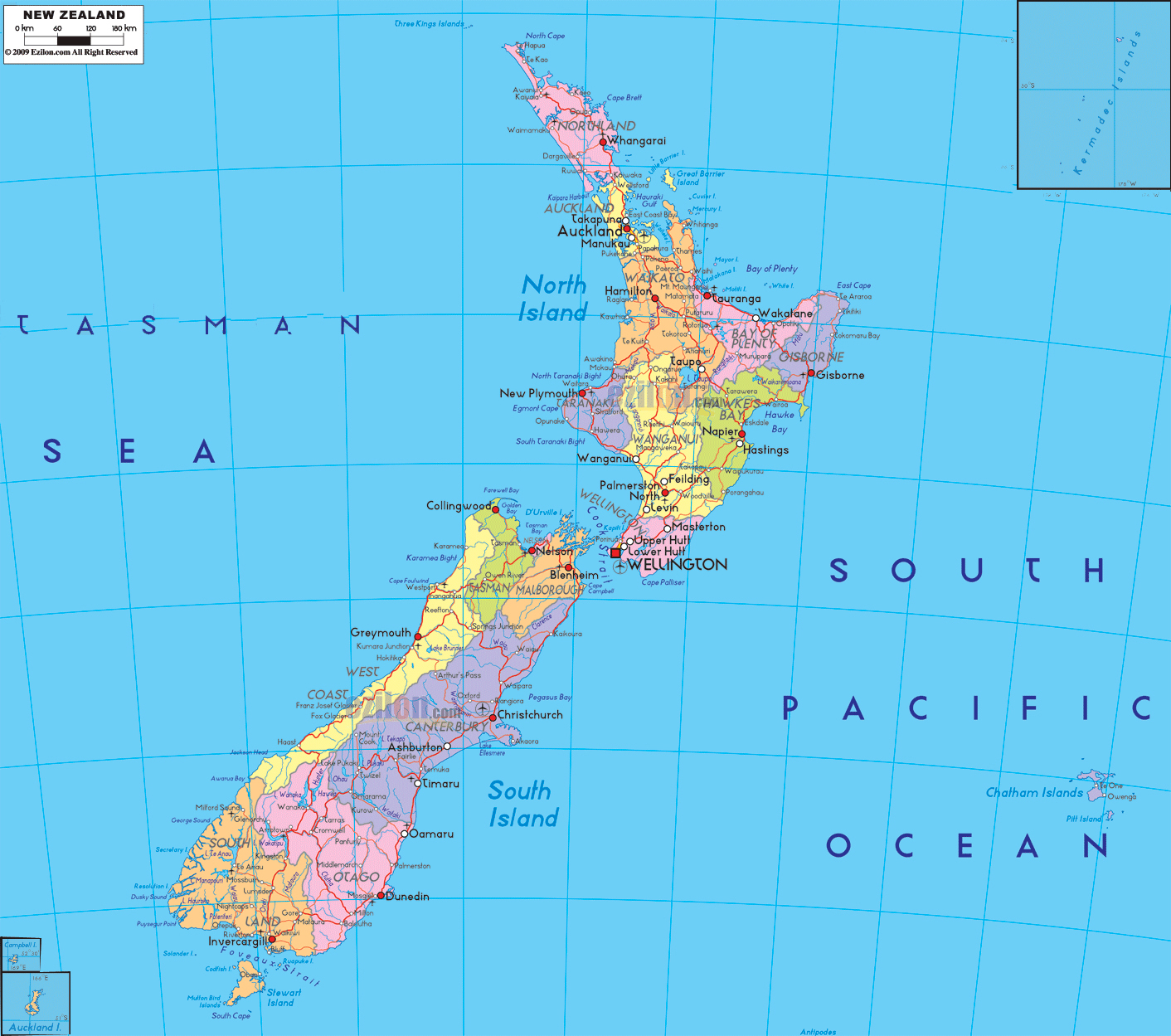 Large detailed administrative map of New Zealand with roads cities
