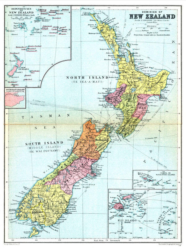 Large detailed old administrative map of New Zealand 1936.