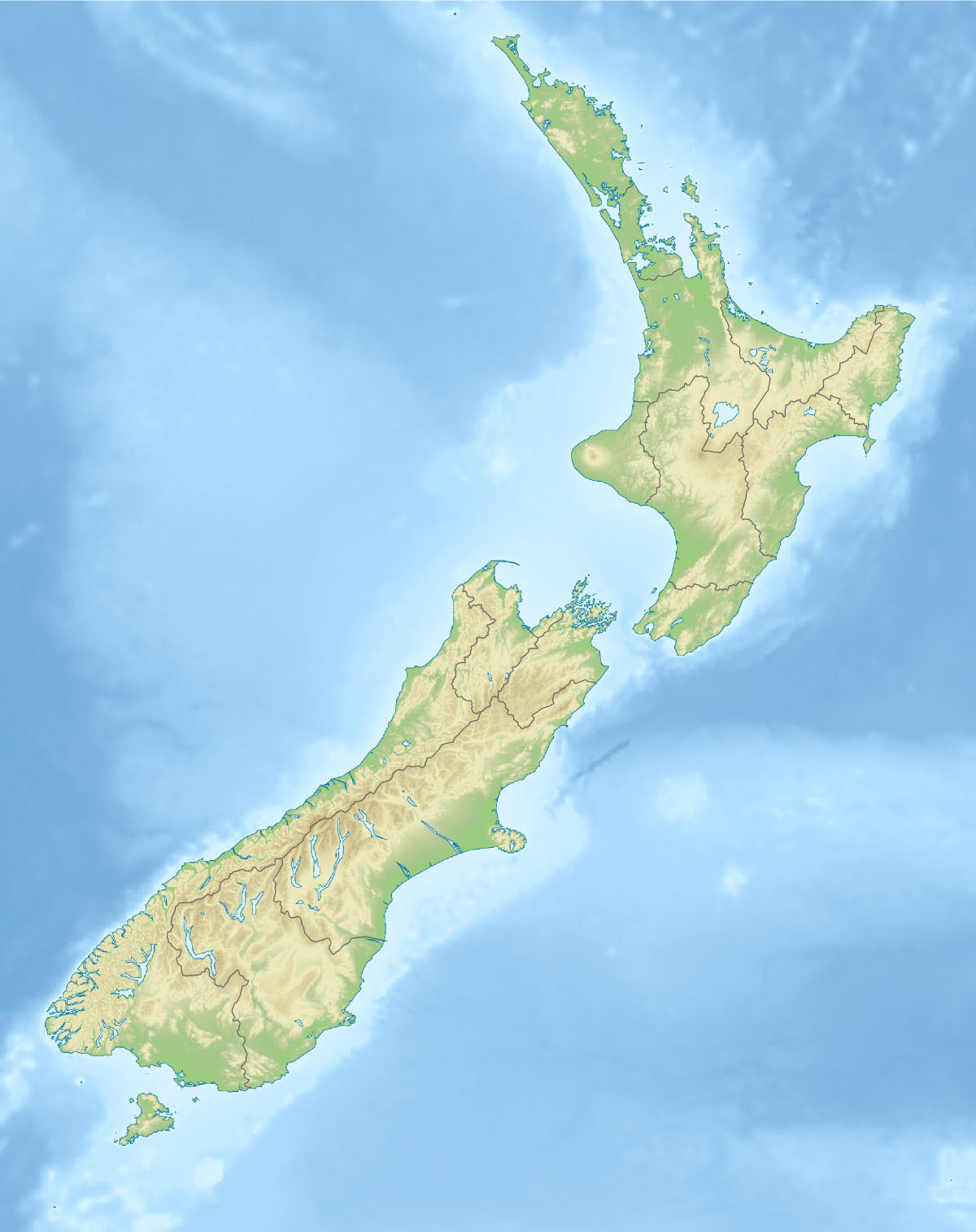 Large detailed physical map of New Zealand New Zealand large