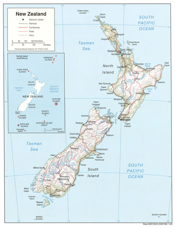 Large detailed political and relief map of New Zealand with roads and cities.