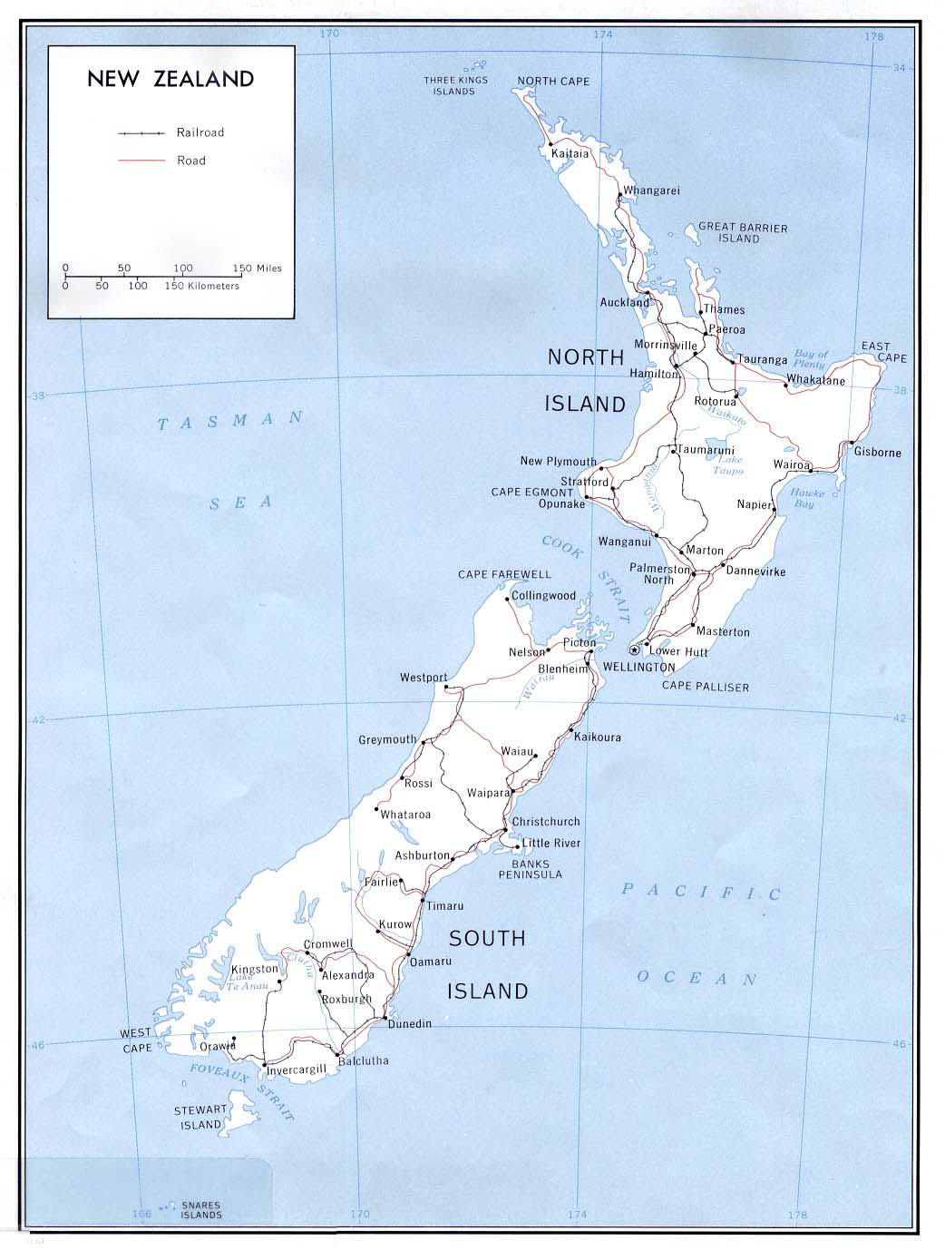 Political Map Of New Zealand.Large Detailed Political Map Of New Zealand With Roads And Cities