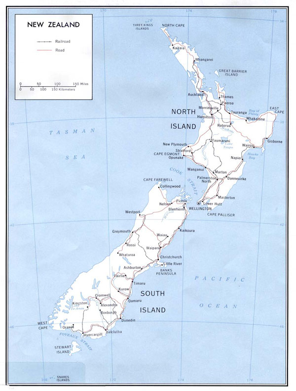 Large detailed political map of New Zealand with roads and cities.