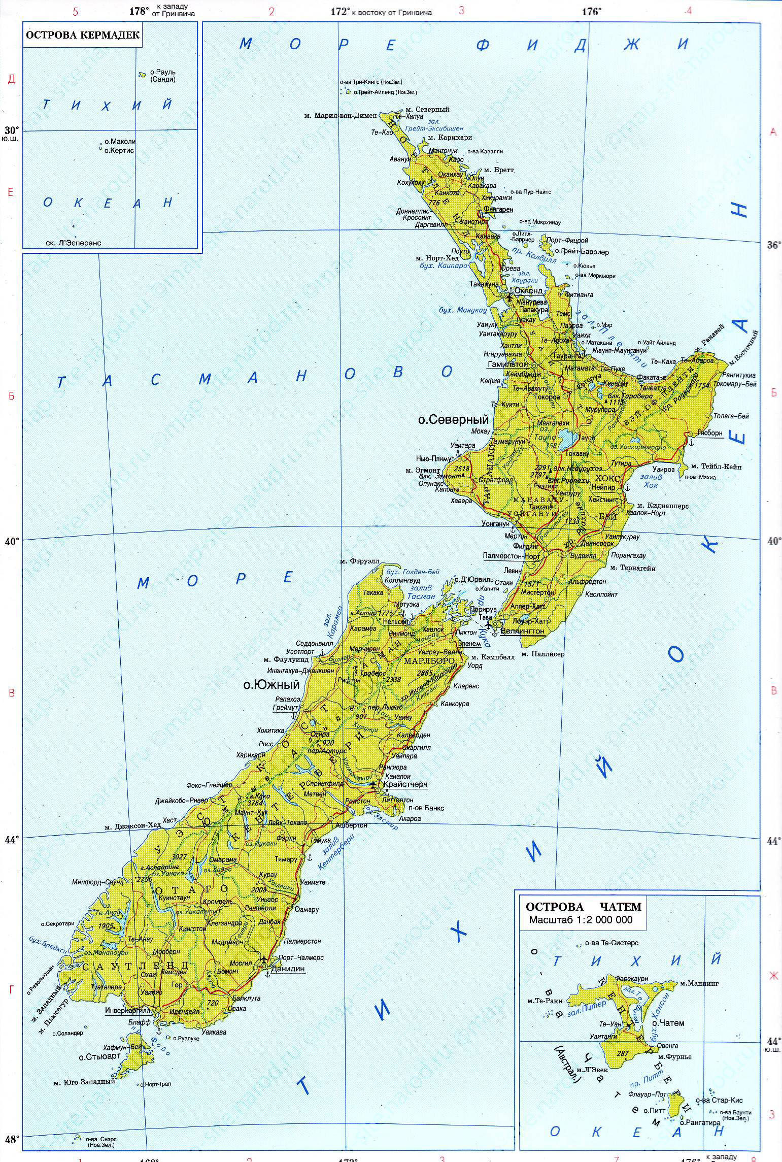 Detailed Map Of New Zealand.Large Detailed Political Map Of New Zealand With Roads And Cities In