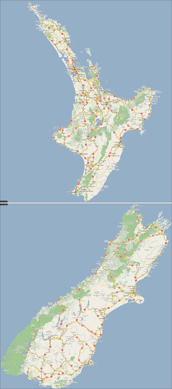 Large detailed road map of New Zealand with cities.