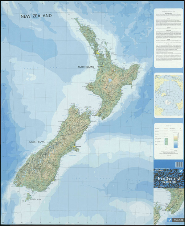 Large detailed topographical map of New Zealand with all cities and roads.