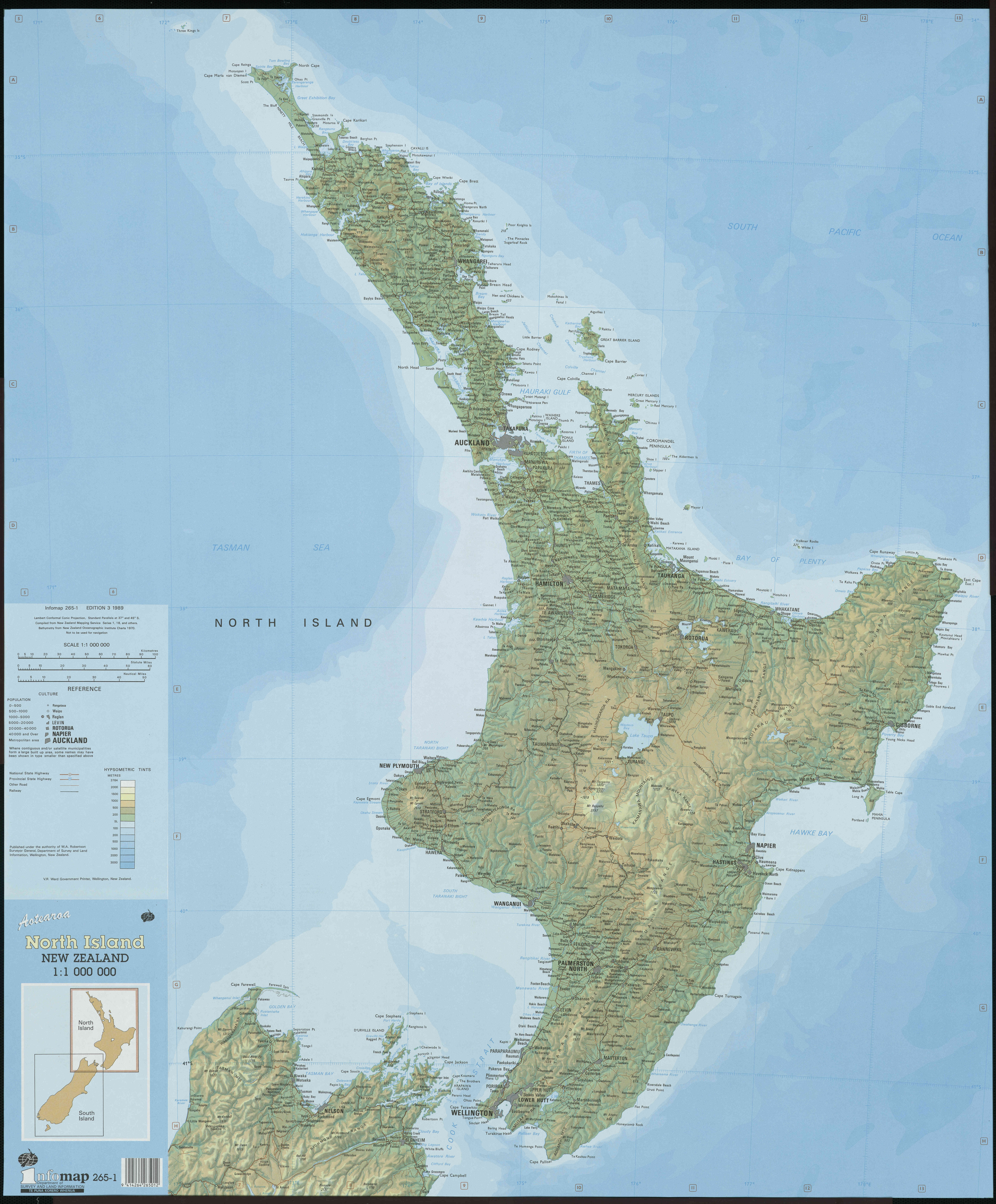 Topographic Map Of New Zealand.Large Detailed Topographical Map Of North Island New Zealand With