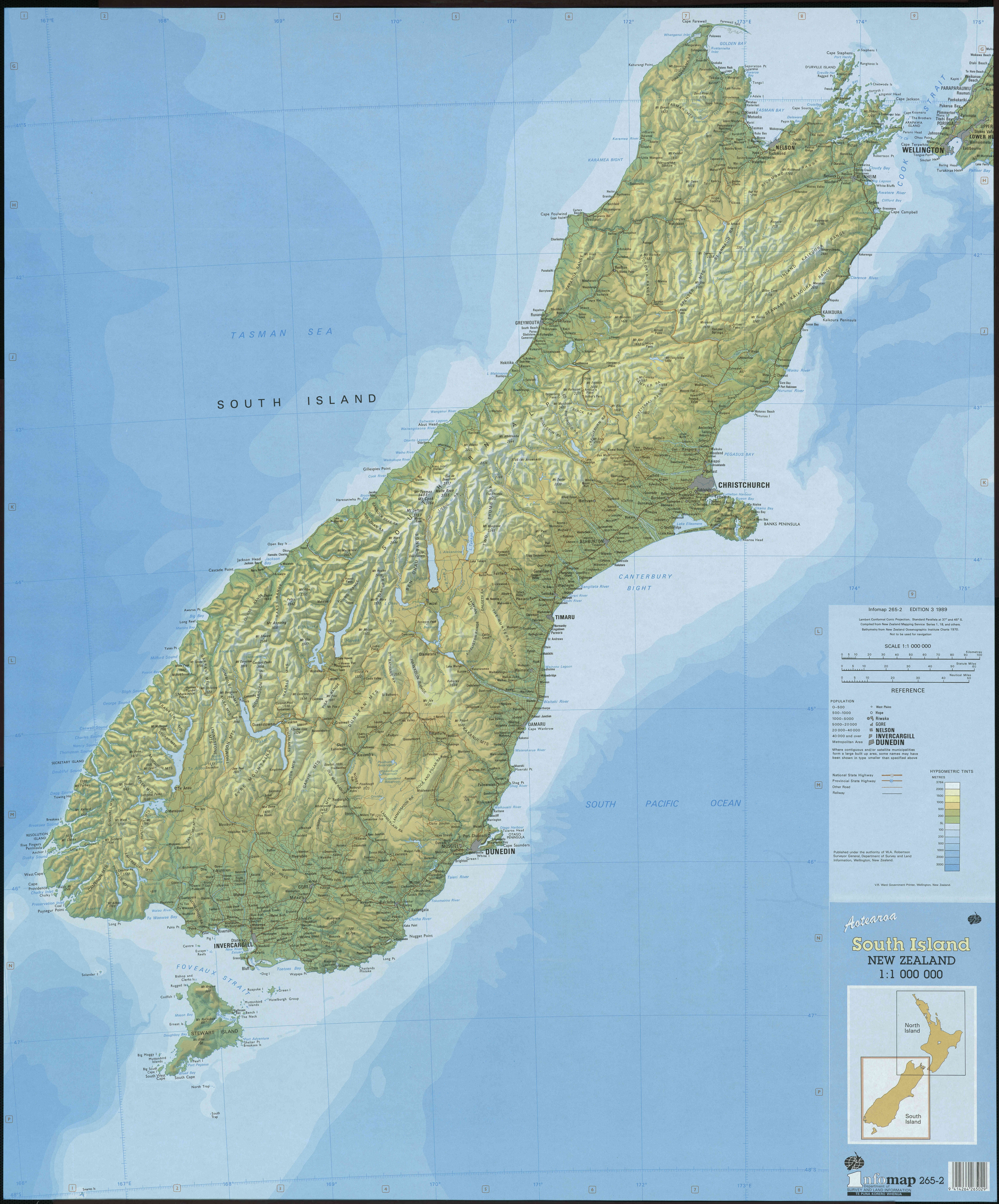 Large detailed topographical map of South Island New Zealand with