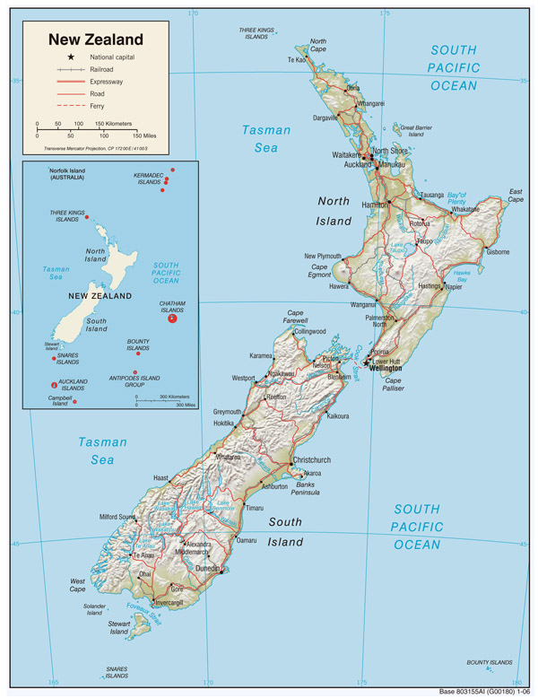 Large political and relief map of New Zealand with roads and cities.