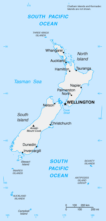 Map of New Zealand. New Zealand map.