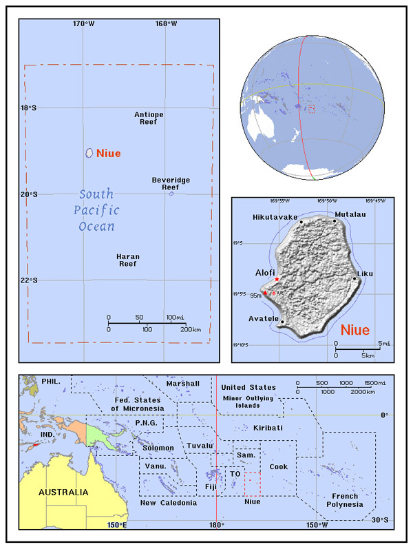 Full political map of Niue. Niue full political map.