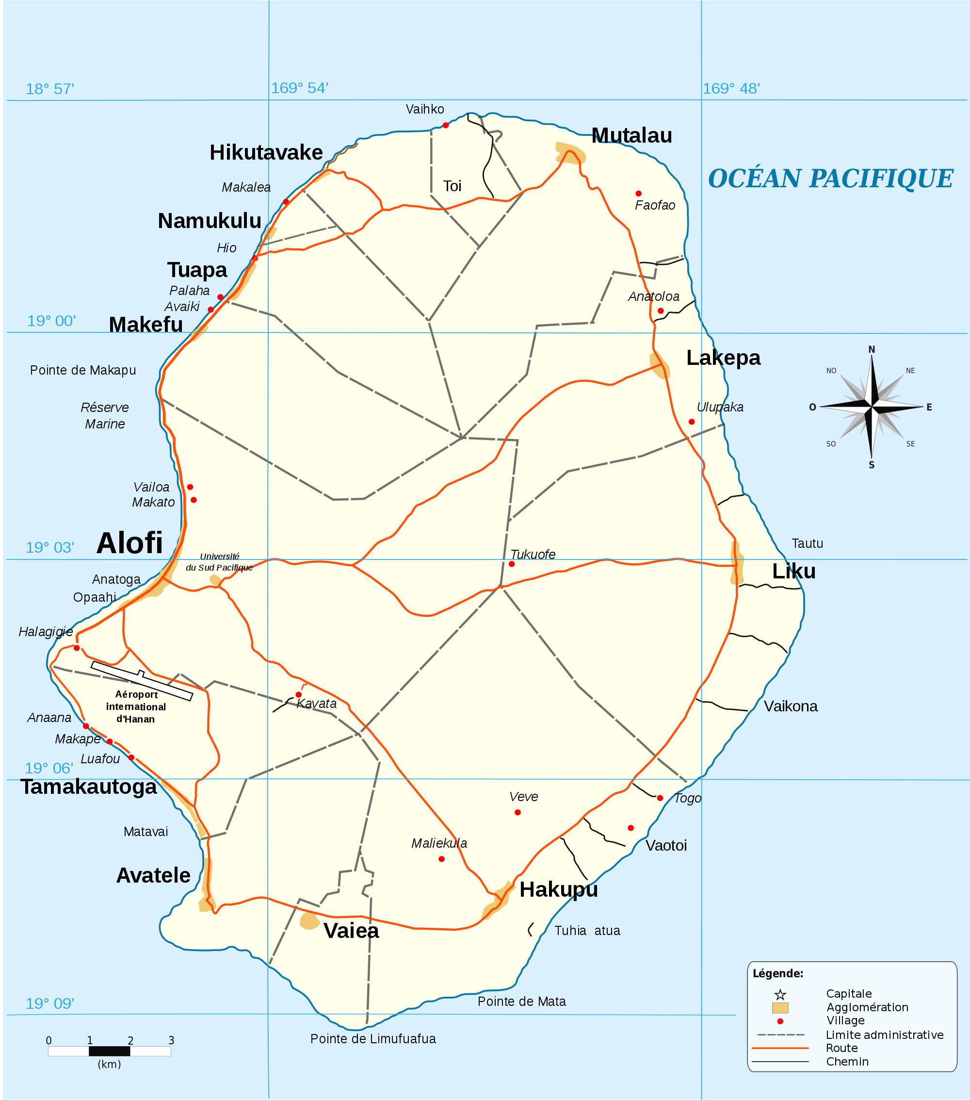Large Detailed Road Map Of Niue Niue Large Detailed Road Map - Niue map