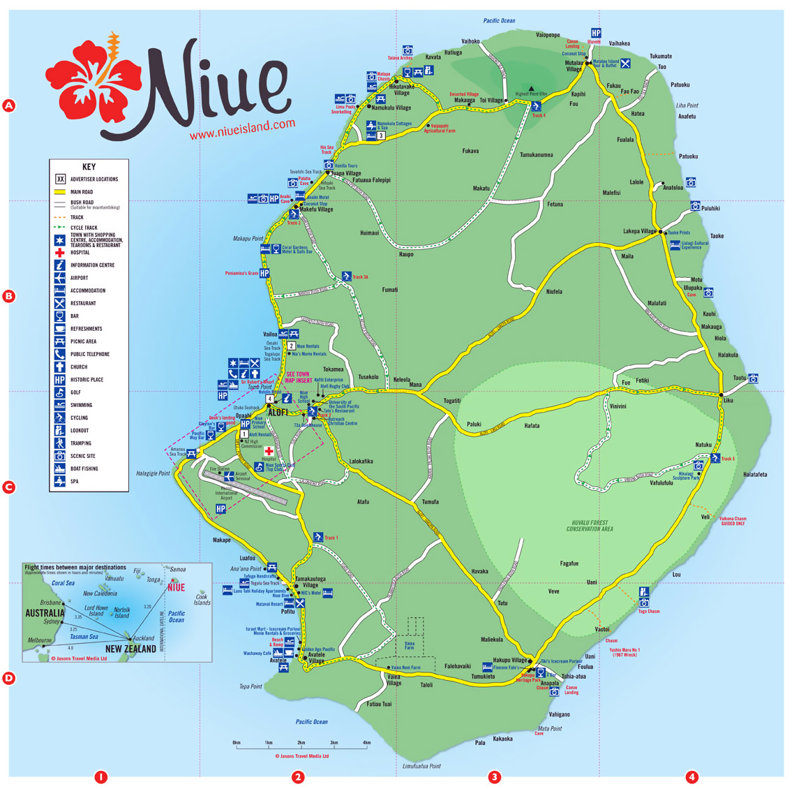 travel map of niue niue travel map