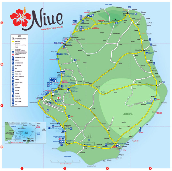 Travel map of Niue. Niue travel map.