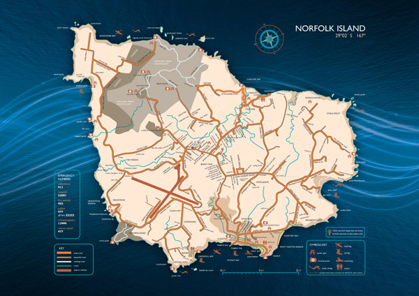 Large detailed road map of Norfolk Island. Norfolk Island large detailed road map.