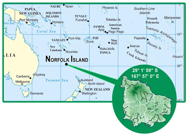 Norfolk Island detailed location map. Detailed location map of Norfolk Island.