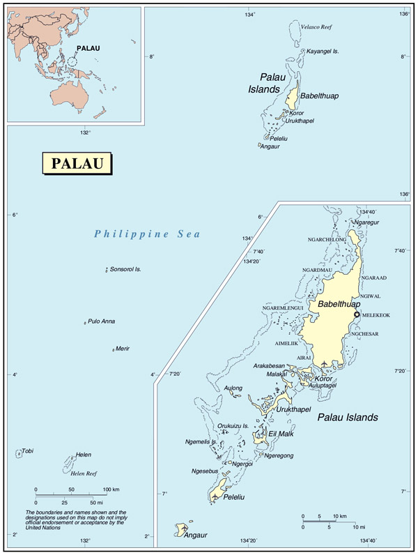 Large detailed political map of Palau with cities and airports.