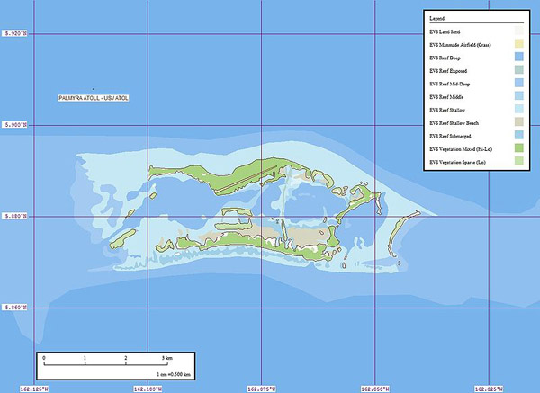 Detailed marplot map of Palmyra Atoll. Palmyra Atoll detailed marplot map.