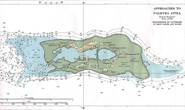 Large detailed topographical map of Palmyra Atoll.