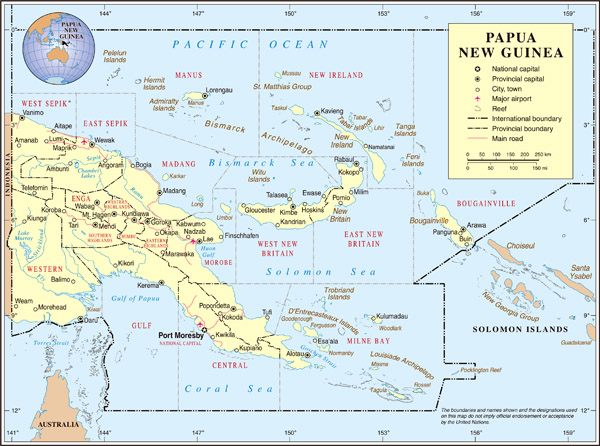 Detailed political and administrative map of Papua New Guinea with roads and cities.